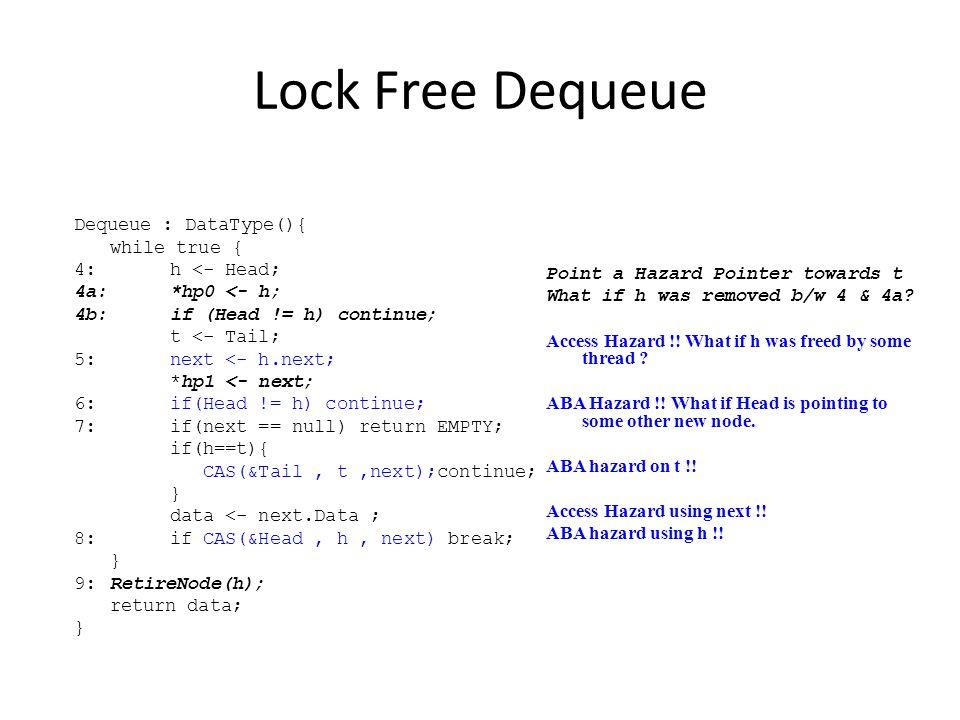 Lock Free Dequeue Dequeue : DataType(){ while true { 4: h <- Head;