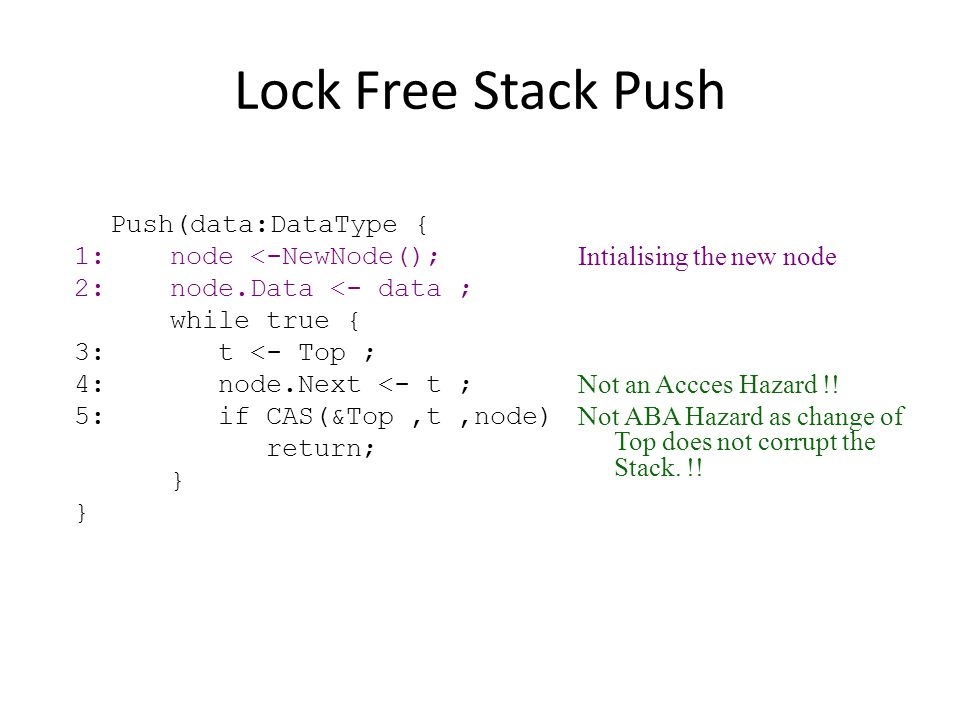 Lock Free Stack Push 1: node <-NewNode(); Intialising the new node