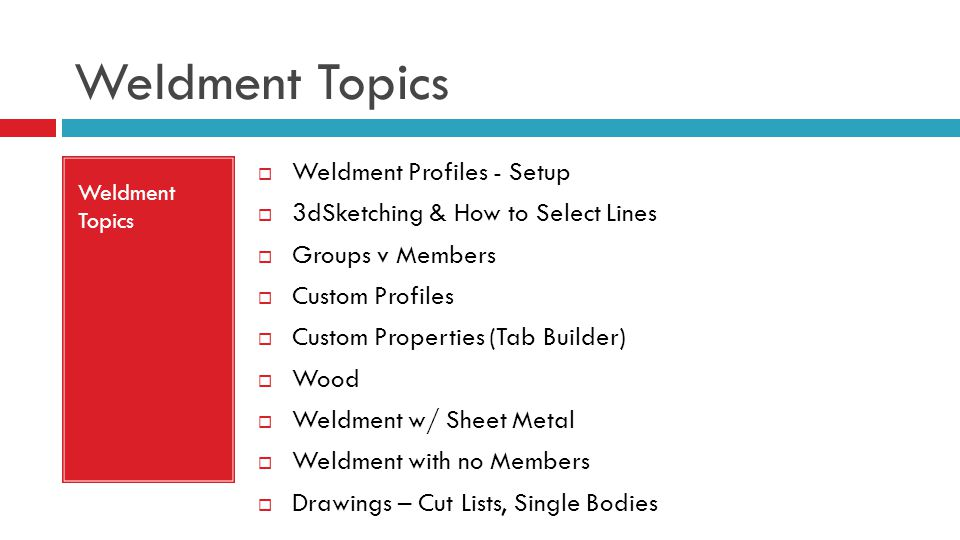 Weldment Topics Weldment Profiles - Setup