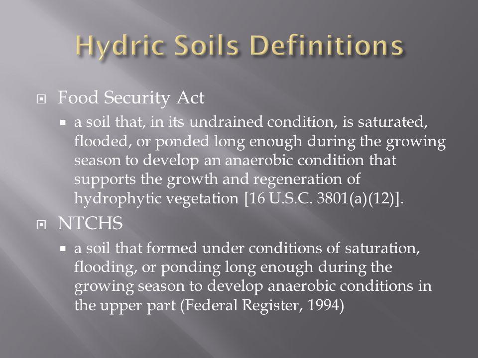 Hydric Soils Definitions