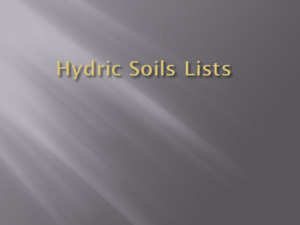 Hydric Soils Lists