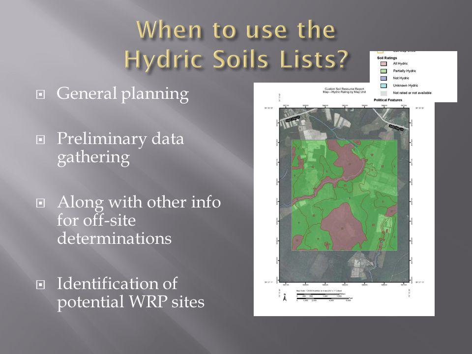 When to use the Hydric Soils Lists