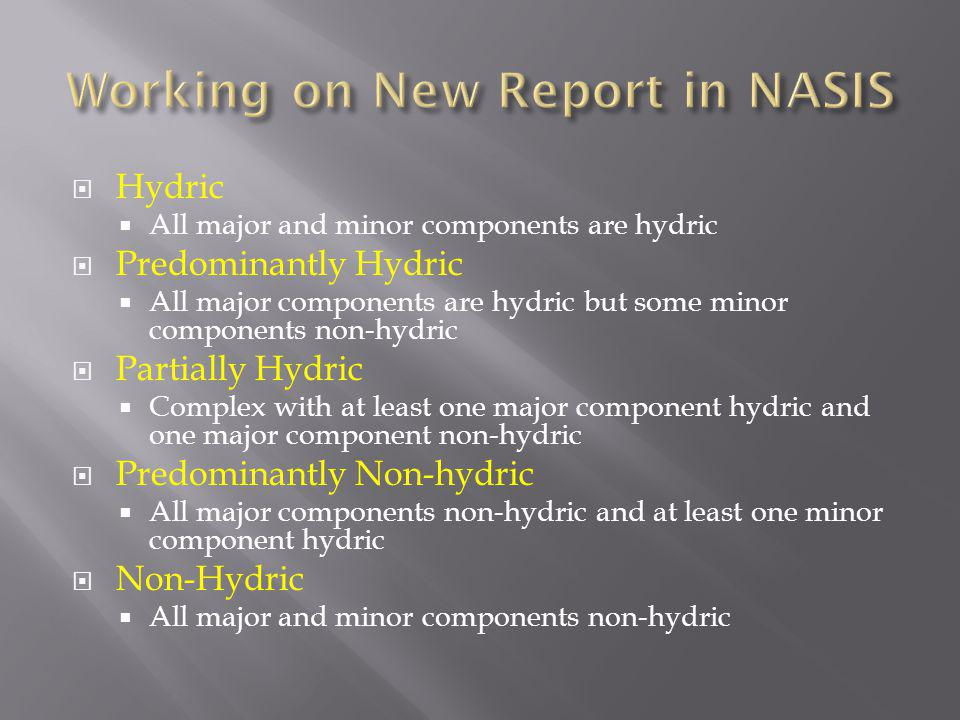 Working on New Report in NASIS