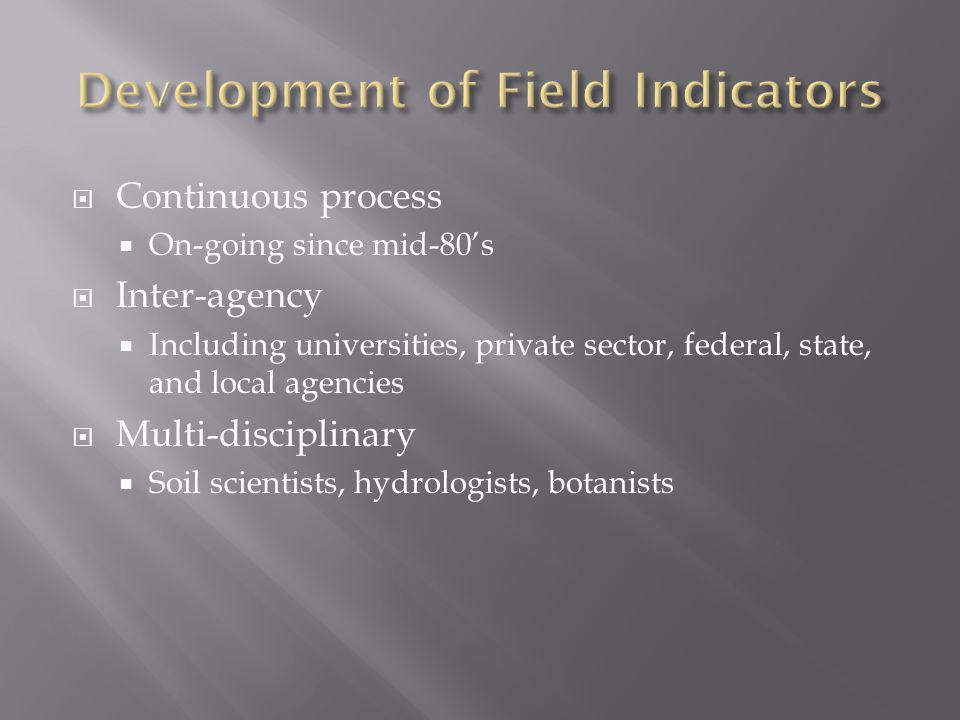 Development of Field Indicators