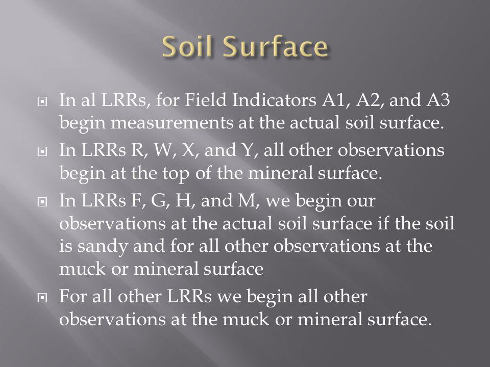 Soil Surface In al LRRs, for Field Indicators A1, A2, and A3 begin measurements at the actual soil surface.
