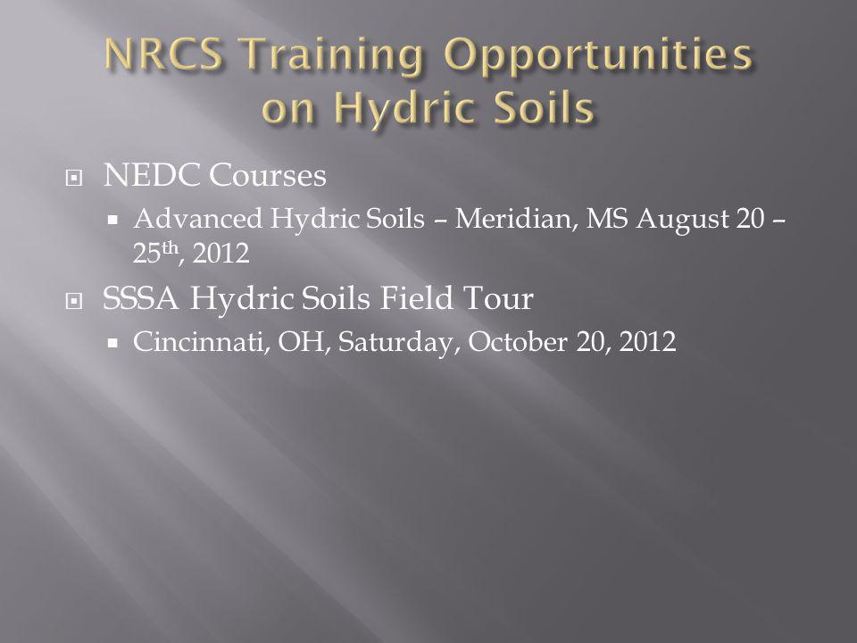 NRCS Training Opportunities on Hydric Soils