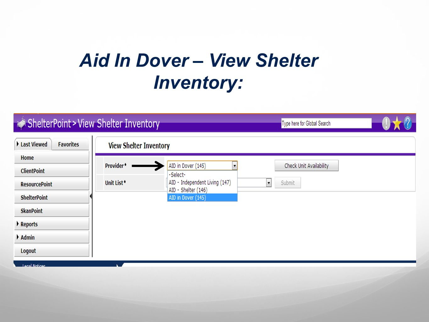Aid In Dover – View Shelter Inventory: