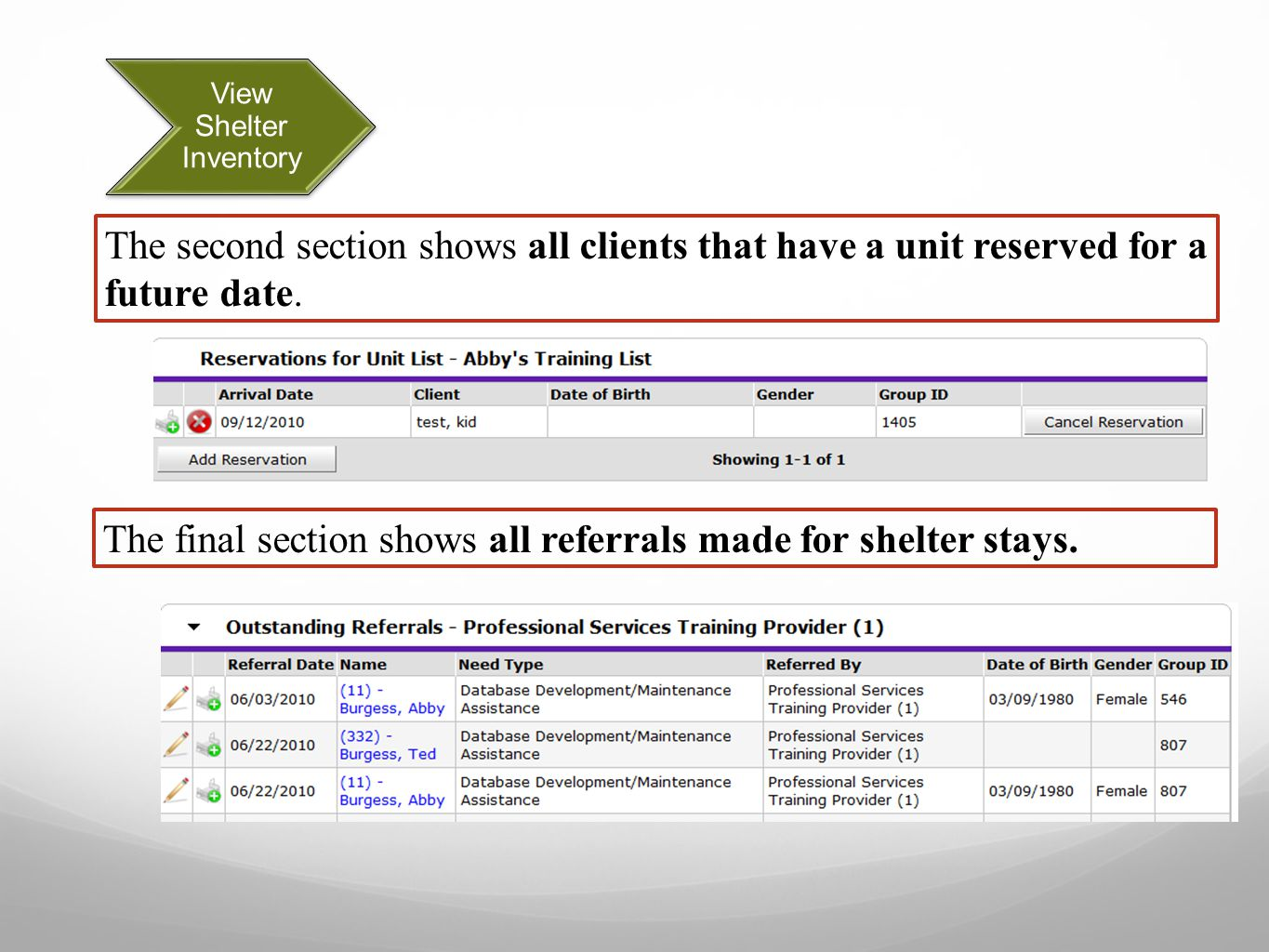 View Shelter Inventory