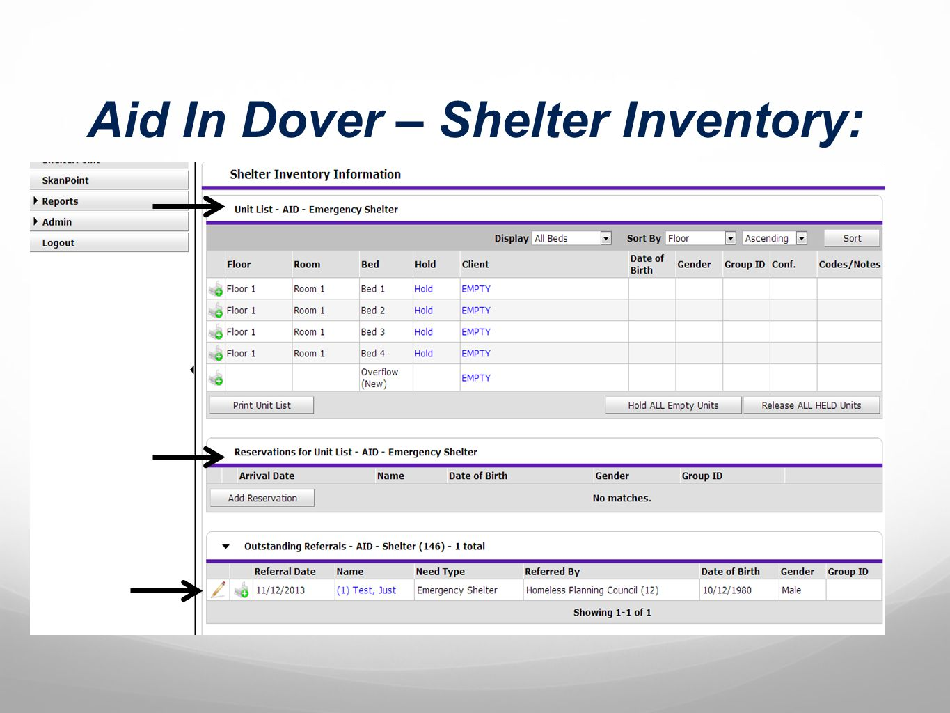 Aid In Dover – Shelter Inventory: