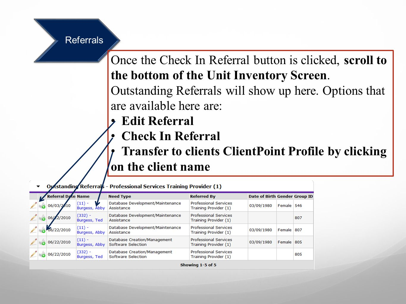 Transfer to clients ClientPoint Profile by clicking on the client name
