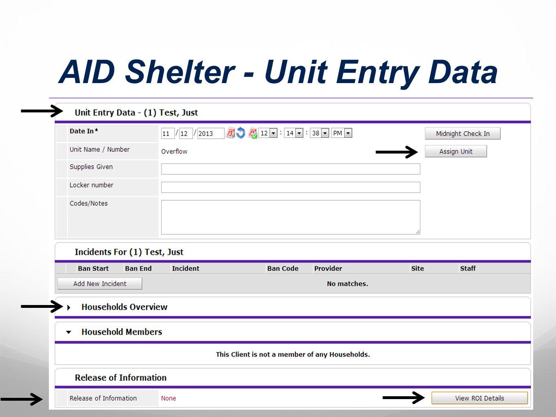 AID Shelter - Unit Entry Data
