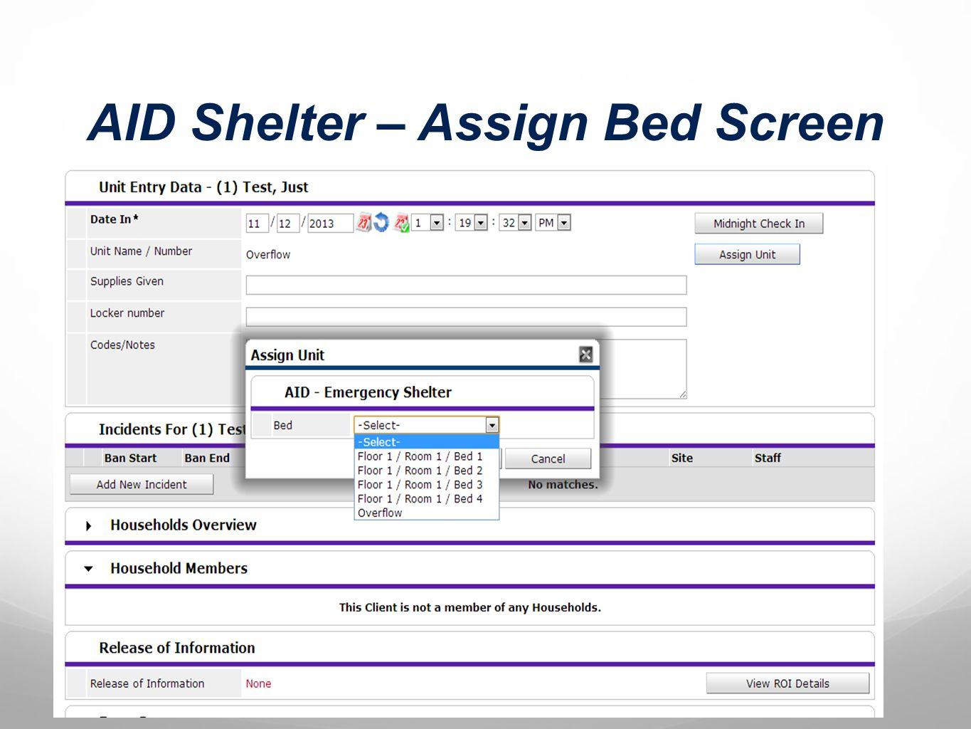 AID Shelter – Assign Bed Screen