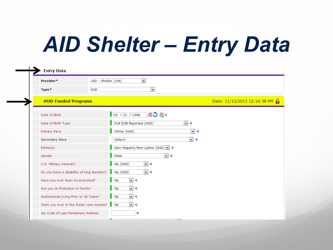 AID Shelter – Entry Data