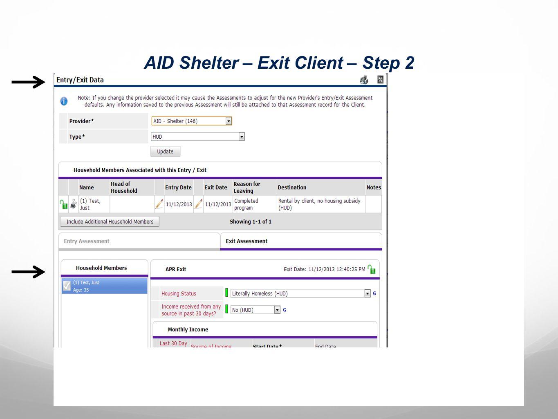 AID Shelter – Exit Client – Step 2