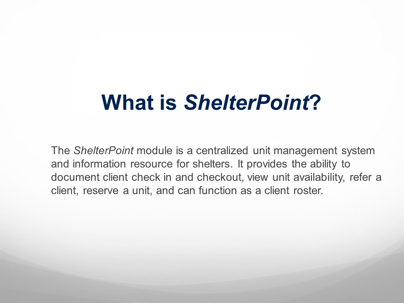What is ShelterPoint