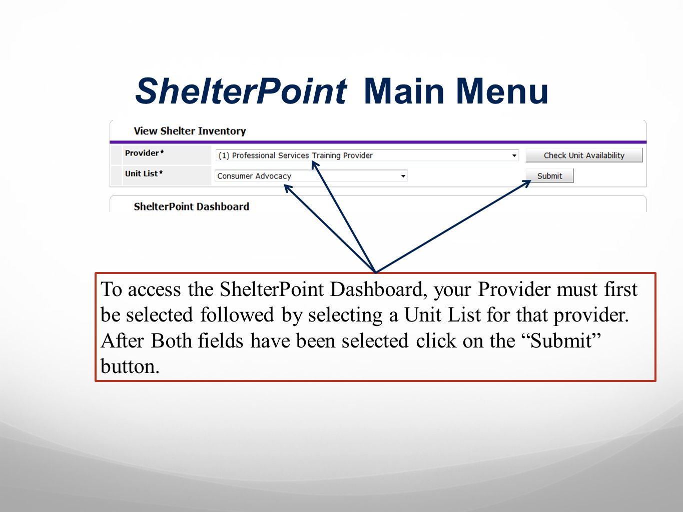 ShelterPoint Main Menu