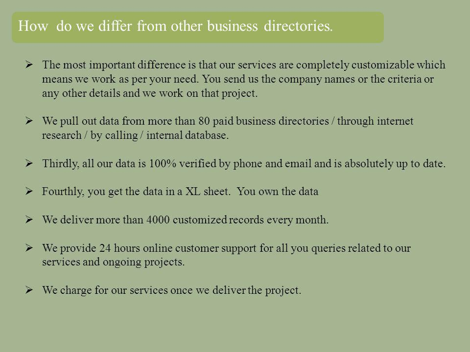 How do we differ from other business directories.