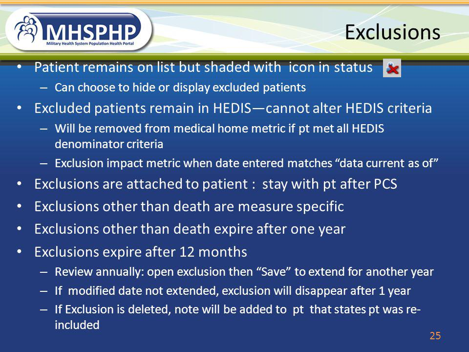 Exclusions Patient remains on list but shaded with icon in status