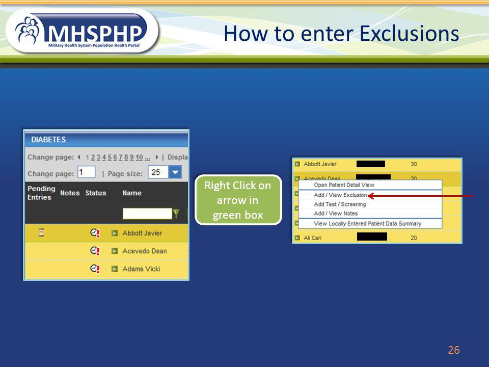 How to enter Exclusions