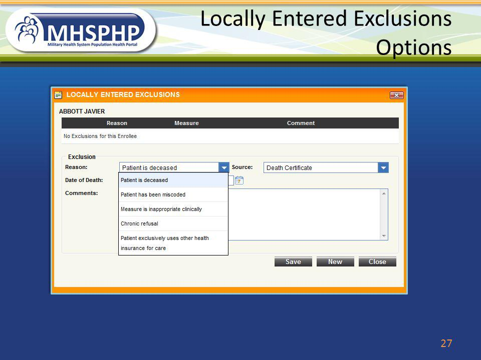Locally Entered Exclusions Options