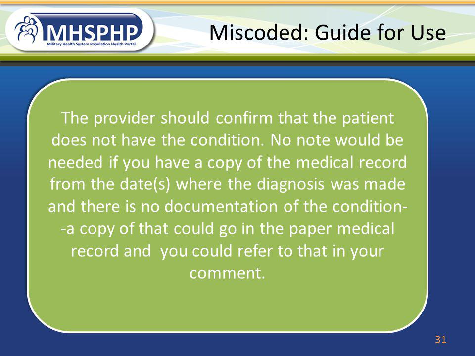Miscoded: Guide for Use