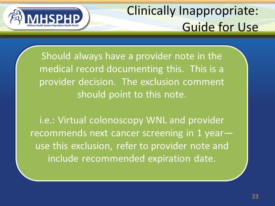 Clinically Inappropriate: Guide for Use