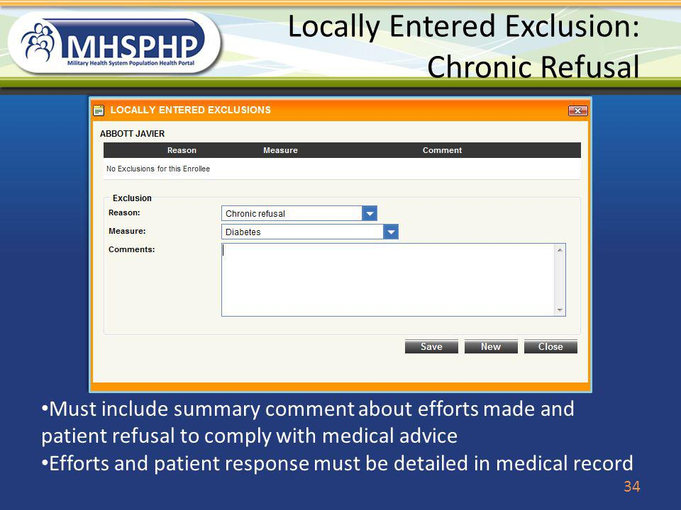 Locally Entered Exclusion: Chronic Refusal
