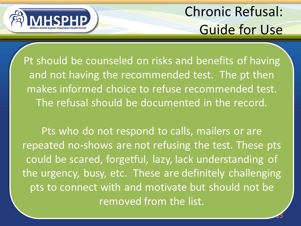 Chronic Refusal: Guide for Use
