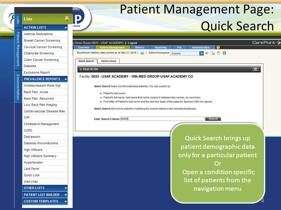 Patient Management Page: Quick Search
