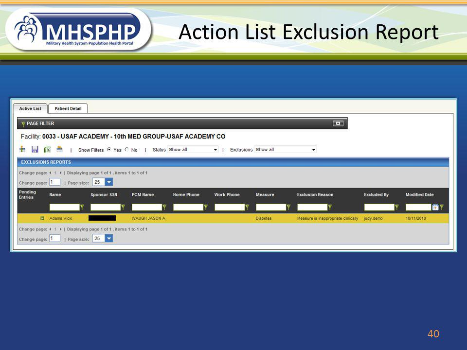 Action List Exclusion Report