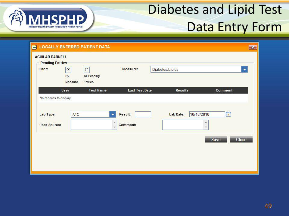 Diabetes and Lipid Test Data Entry Form
