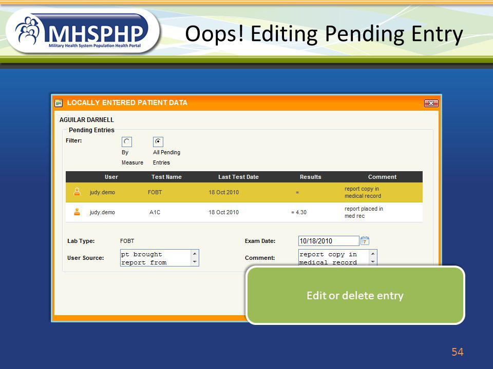 Oops! Editing Pending Entry