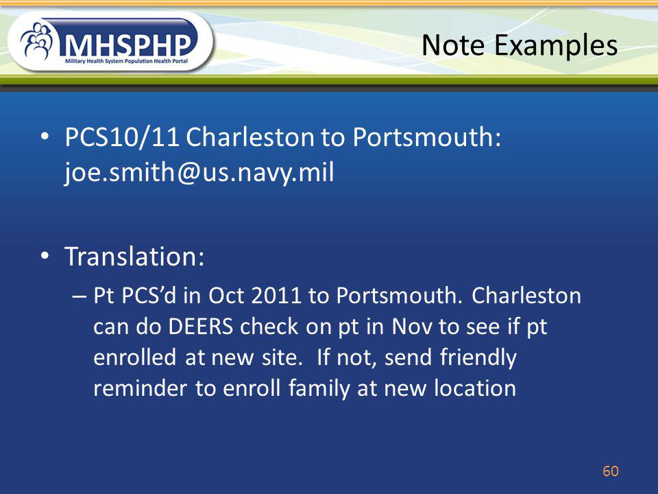 Note Examples PCS10/11 Charleston to Portsmouth: joe.smith@us.navy.mil