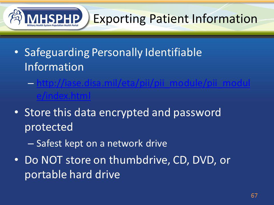 Exporting Patient Information