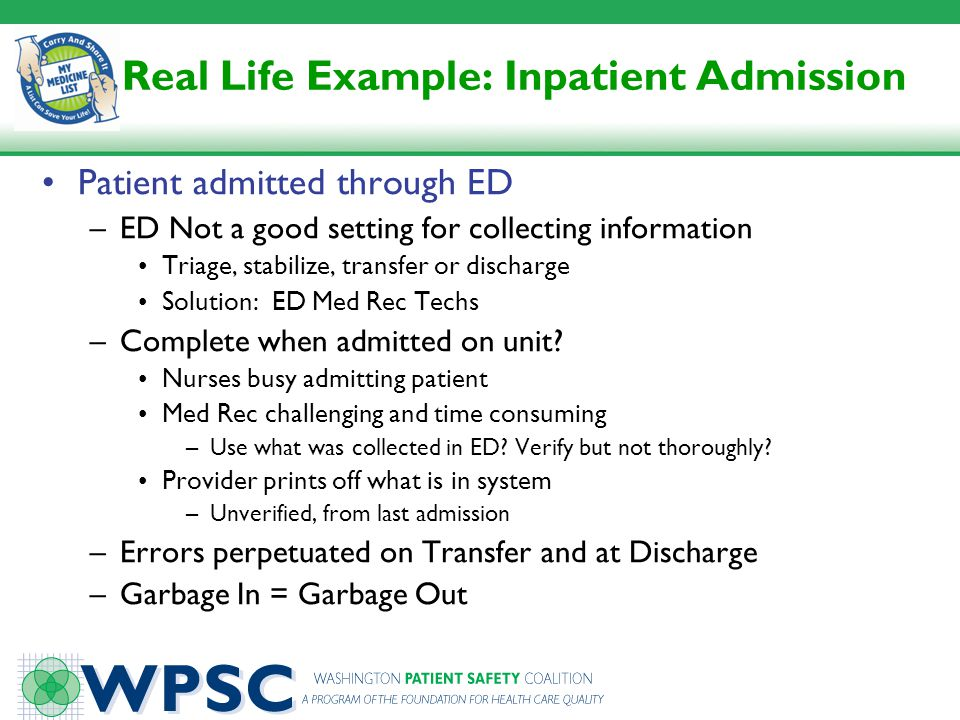 Real Life Example: Inpatient Admission