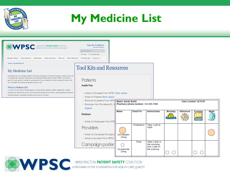 My Medicine List A sample of resources available on the My Medicine List pages of the WPSC web site.