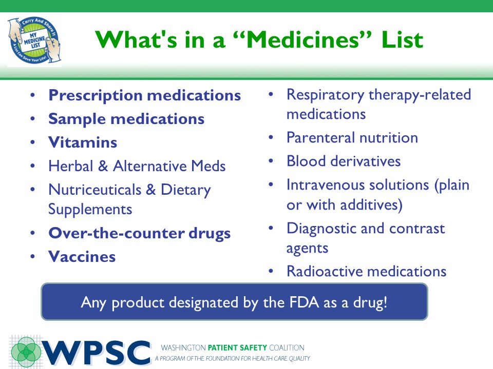 What s in a Medicines List