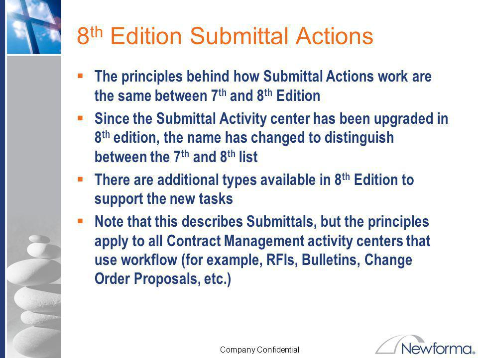 8th Edition Submittal Actions