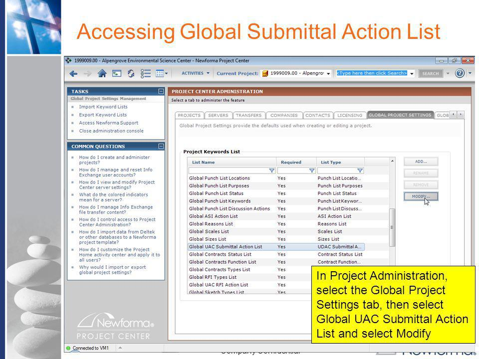 Accessing Global Submittal Action List