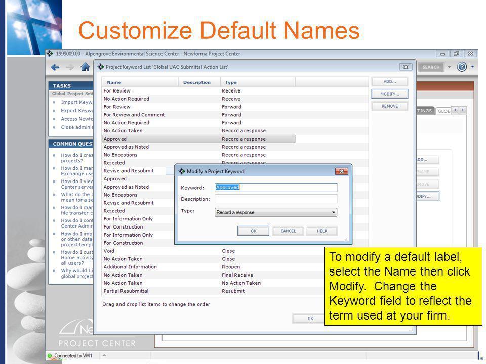 Customize Default Names