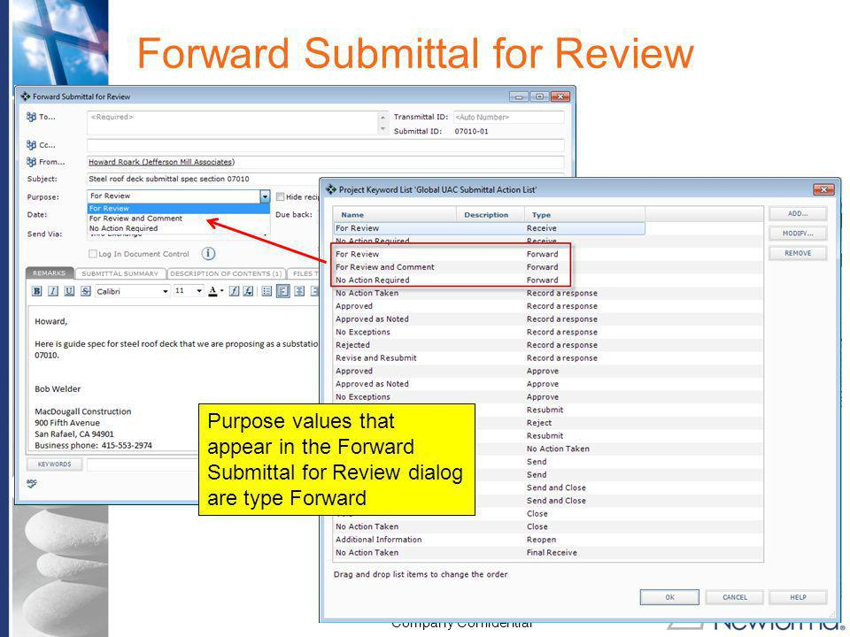 Forward Submittal for Review