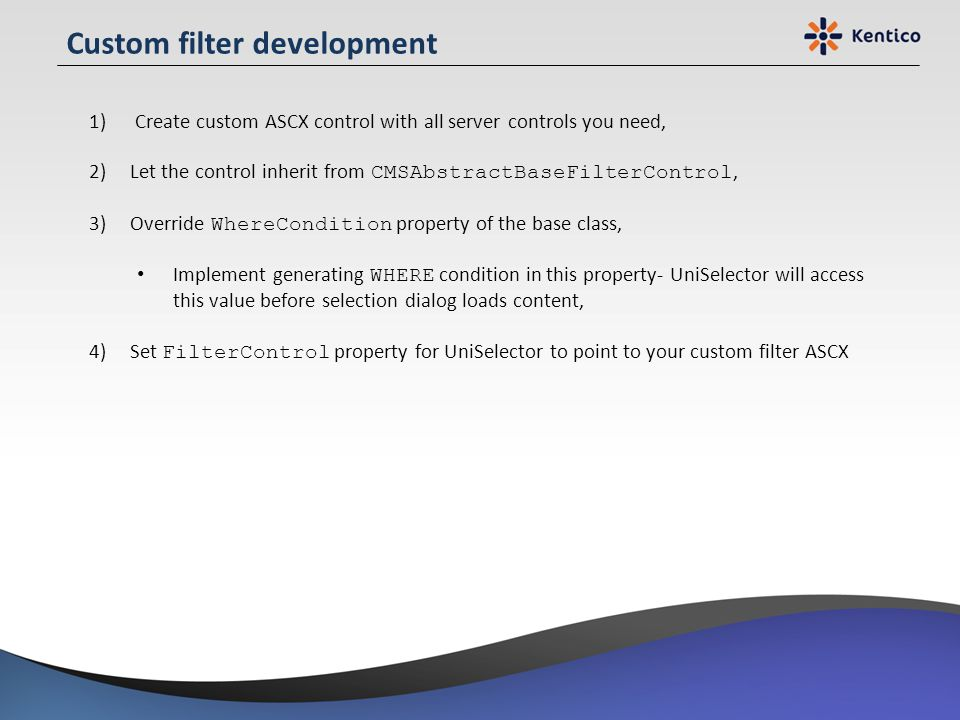 Custom filter development