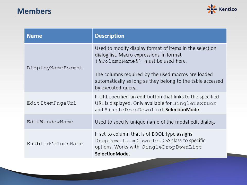Members Name Description DisplayNameFormat