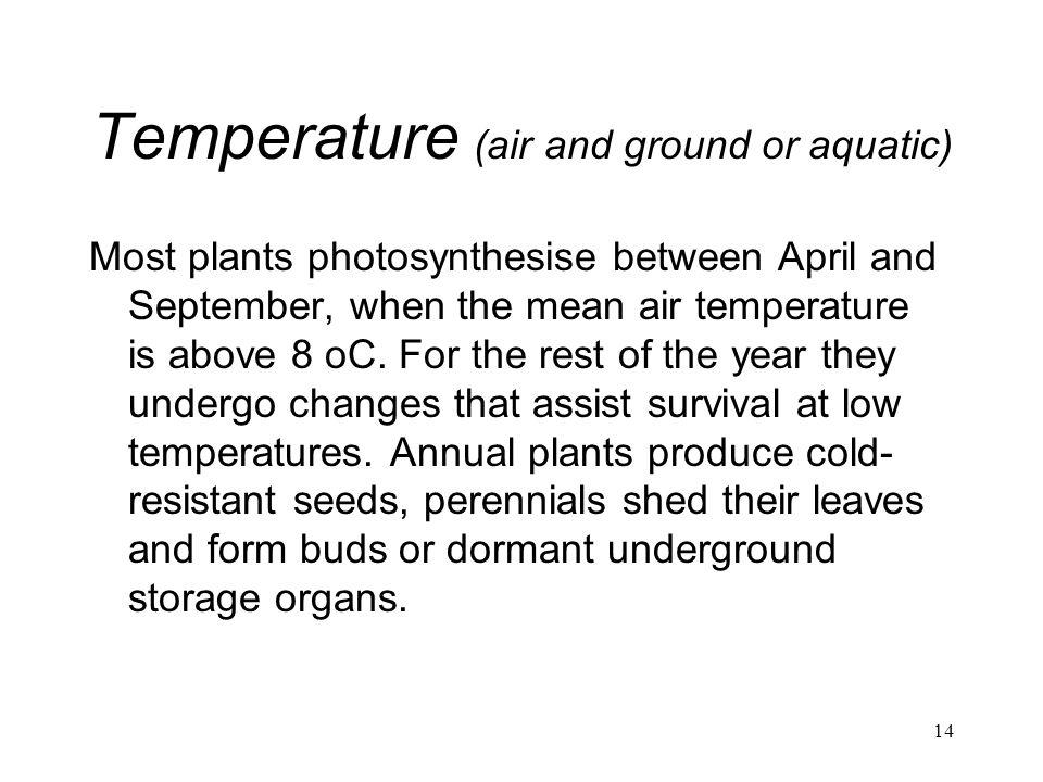 Temperature (air and ground or aquatic)