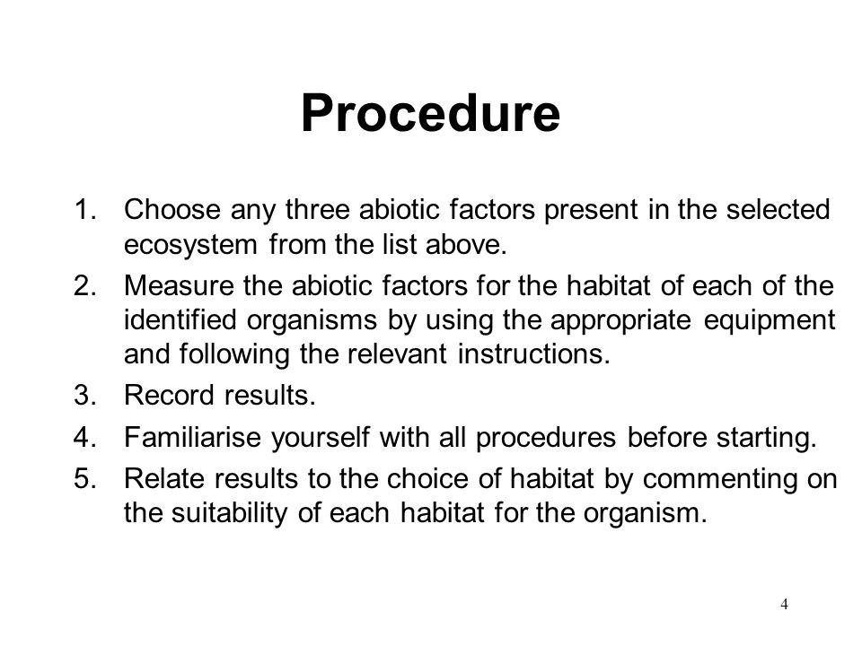 Procedure Choose any three abiotic factors present in the selected ecosystem from the list above.