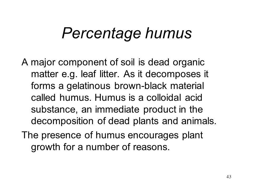 Percentage humus