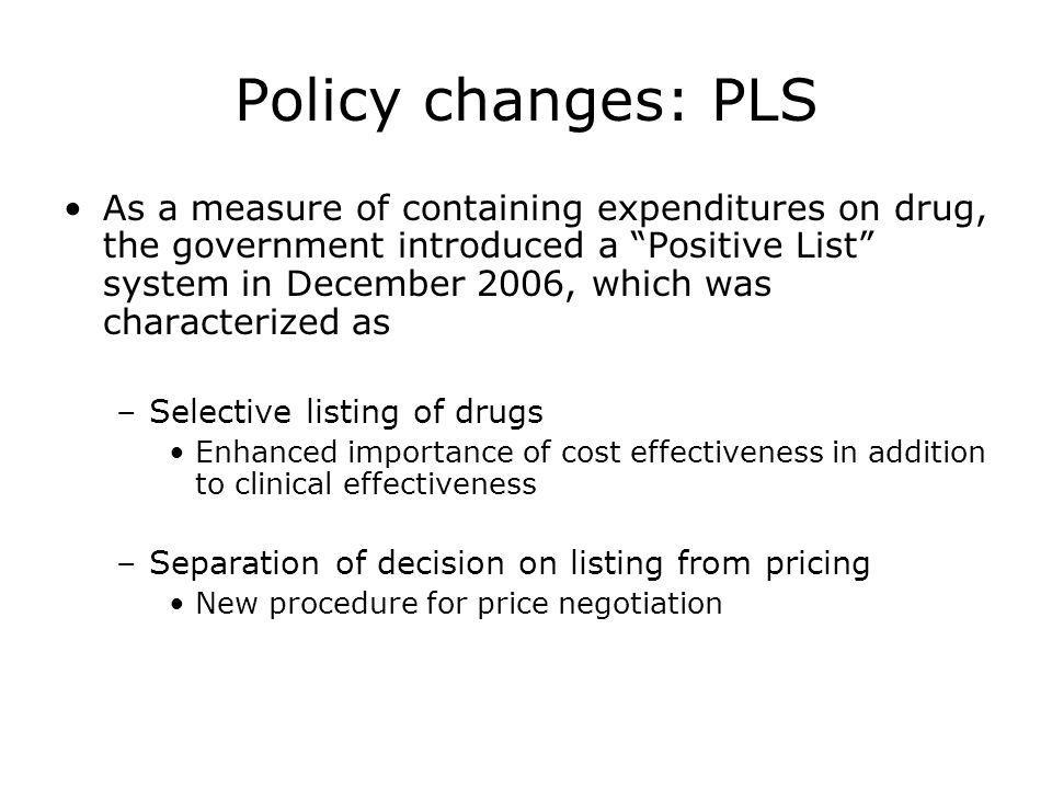 Policy changes: PLS