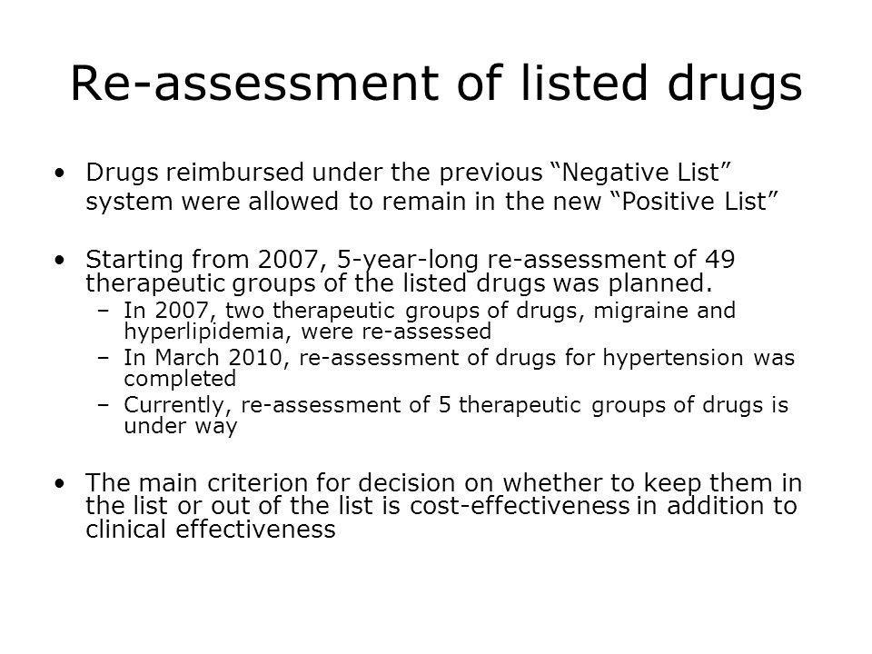 Re-assessment of listed drugs
