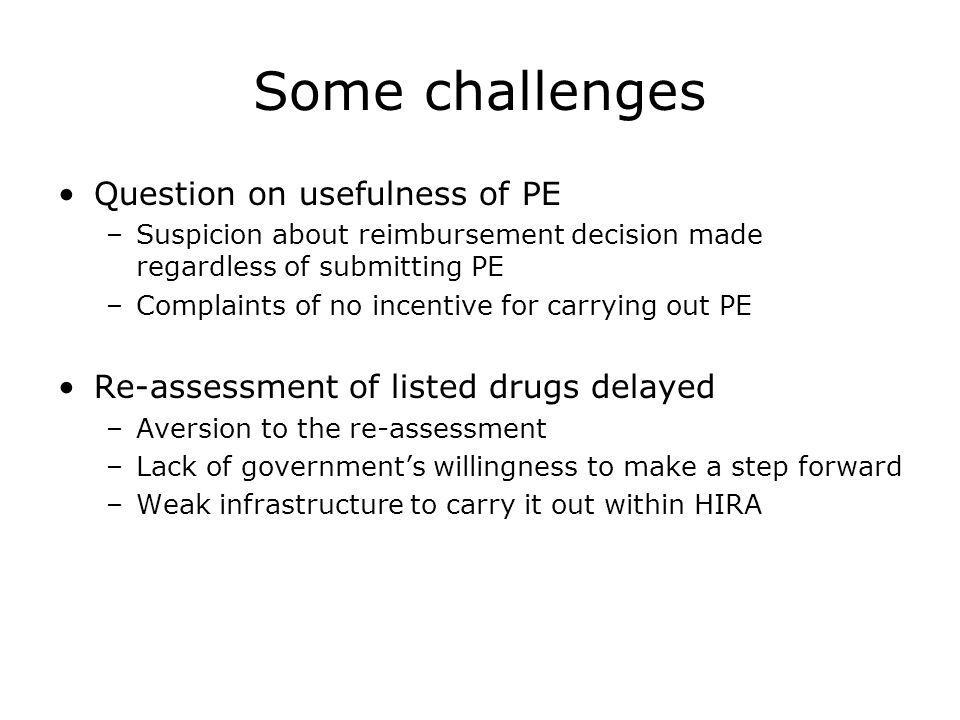 Some challenges Question on usefulness of PE