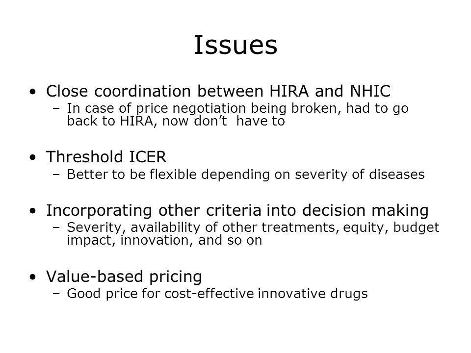 Issues Close coordination between HIRA and NHIC Threshold ICER